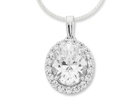 Bevilles Sterling Silver Swarovski Zirconia Necklace