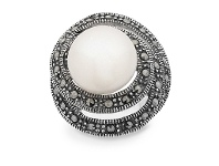 Bevilles Sterling Silver Freshwater Pearl Ring Made with Swarovski Marcasite