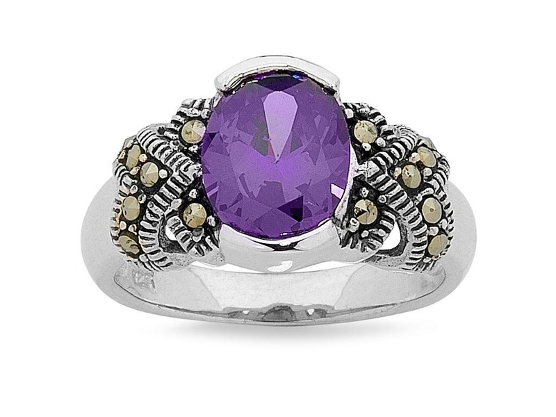 Mesmorized Sterling Silver Ring made with Swarovski Marcasite