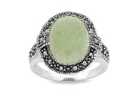 Bevilles Sterling Silver Jade Rinf made with Swarobski Marcasite