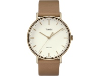 Bevilles Timex Fairfield 41mm Cream Dial Rose Gold Tone Case With Tan Leather Strap