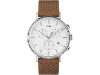 Bevilles Timex Fairfield Chronograph 41mm White Dial Silver Tone Case With Tan Leather Strap