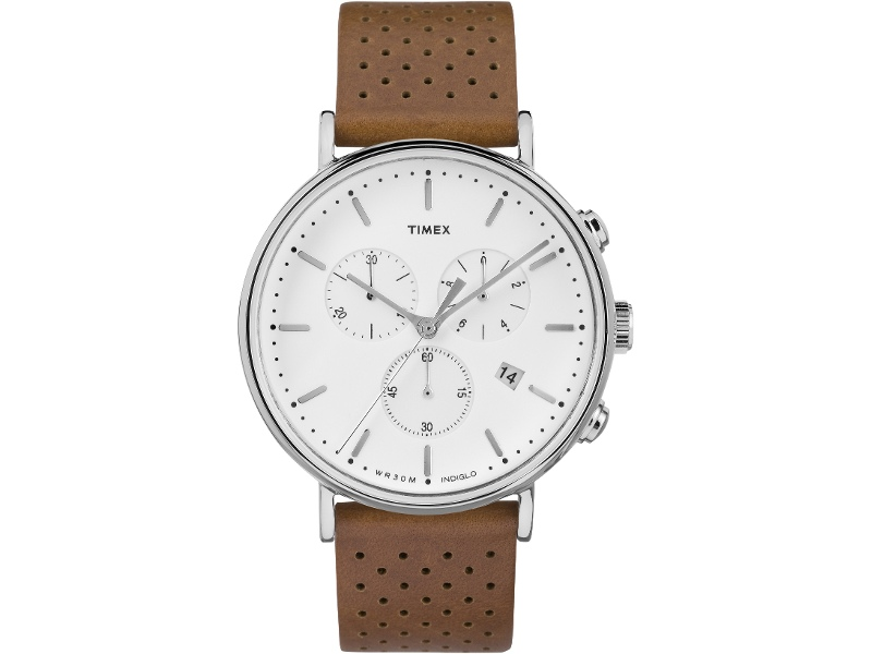 Timex Fairfield Chronograph 41mm White Dial Silver Tone Case With Tan Leather Strap