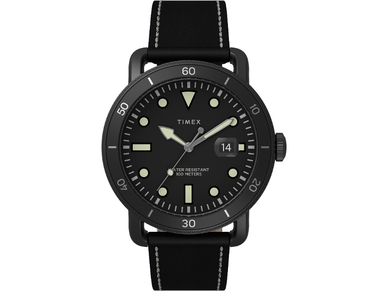 Timex Men's Military Black Case Black Dial With Black Leather Strap