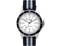 Bevilles Timex Navi XL 41mm White Dial With Blue Stripe Fabric Strap