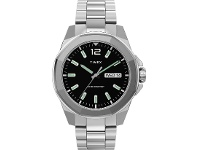 Bevilles Timex Men's 44mm Silver-tone Case Black Dial With Stainless Steel Bracelet