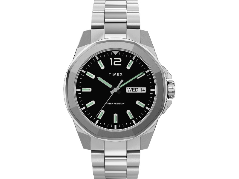 Timex Men's 44mm Silver-tone Case Black Dial With Stainless Steel Bracelet