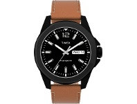Bevilles Timex Men's 44mm Silver-tone Case Blue Dial With Brown Leather Strap