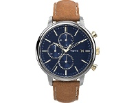 Bevilles Timex Chicago Chronograph Chrome Case Blue Dial With Brown Leather Strap
