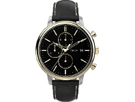 Bevilles Timex Chicago Chronograph Two-Tone Case Black Dial With Black Leather Strap