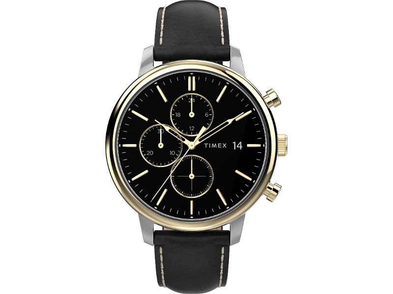 Timex Chicago Chronograph Two-Tone Case Black Dial With Black Leather Strap