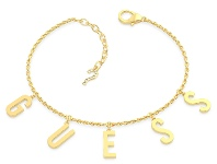 Bevilles Guess Los Angeles Gold Plated Guess Pave Letter Charm Bracelet