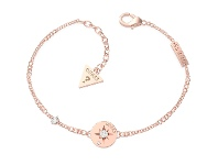 Bevilles Guess Wanderlust Rose Gold Plated Compass Coin Crystals Bracelet