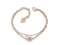 Bevilles Guess Galactic Girl Rose Gold Plated 4G & Clear Crystal Double Chain Bracelet