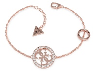 Bevilles Guess Equilibre Rose Gold Plated Circle & Pave 4G Bracelet