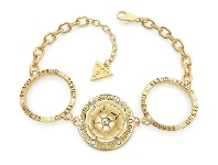 Bevilles Guess Peony Gold Plated Single Peony & Circles Big Bracelet