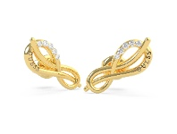 Bevilles Guess Eternal Love Gold Plated Pave Infinity Symbol Stud Earrings