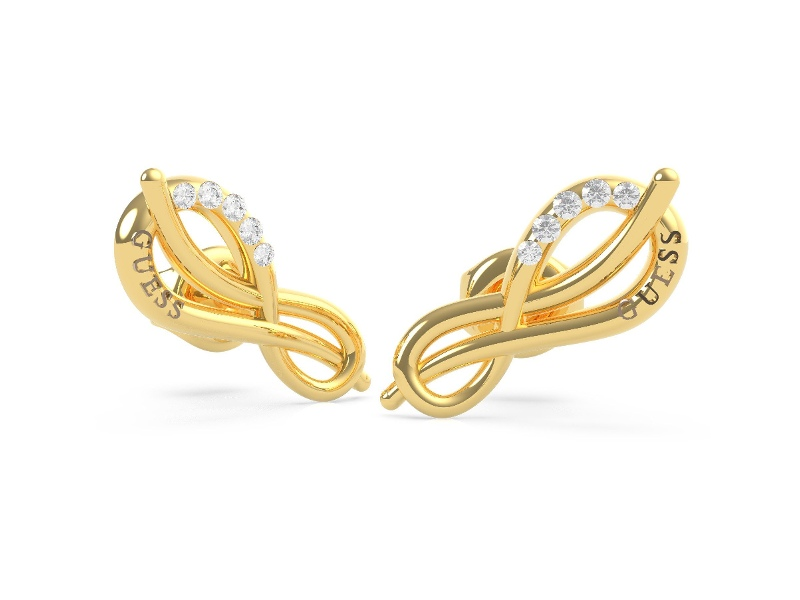 Guess Eternal Love Gold Plated Pave Infinity Symbol Stud Earrings