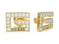 Bevilles Guess G Multi Chain Square Gold Plated G Squared Pave Stud Earring