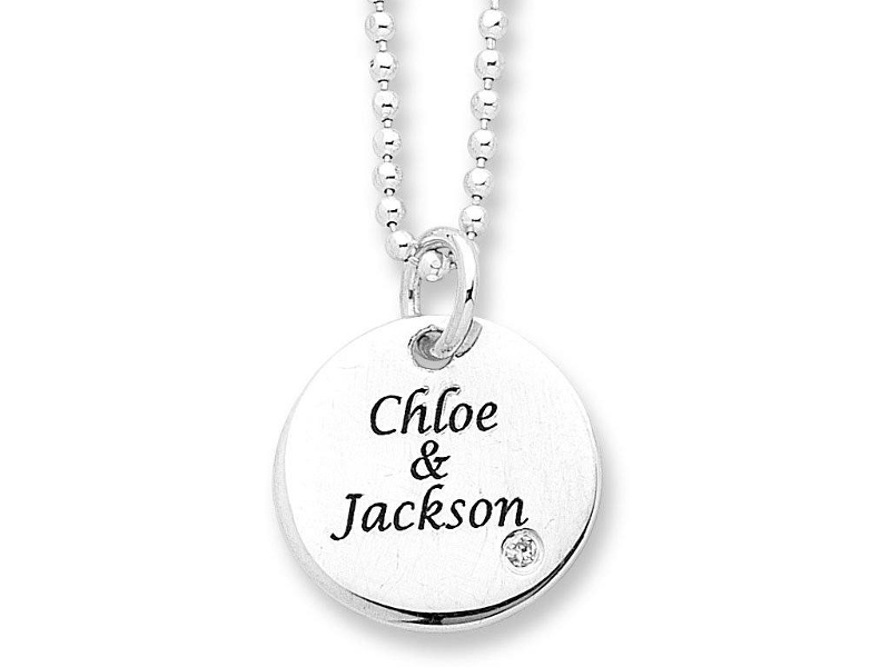 Personalised Sterling Silver Stone Set Disc Necklace