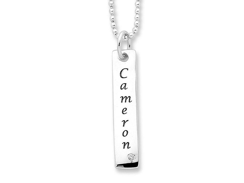 Personalised Diamond or Birthstone Tag Necklace Sterling Silver