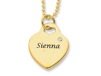 Bevilles Personalised Birthstone or Diamond Heart Necklace 9ct Gold
