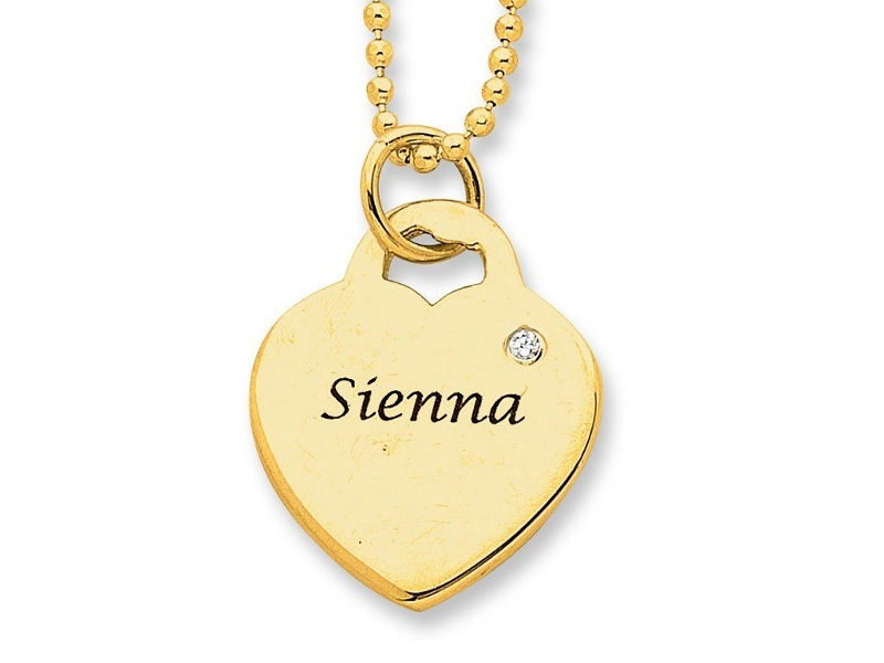 Personalised Birthstone or Diamond Heart Necklace 9ct Gold