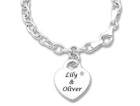 Bevilles Personalised Diamond or Birthstone Heart Bracelet Sterling Silver