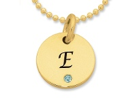 Bevilles Personalised 9ct Yellow Gold Initial Necklace with Birthstone