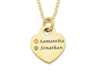 Bevilles Personalised 9ct Yellow Gold Heart Necklace with 2 Birthstones