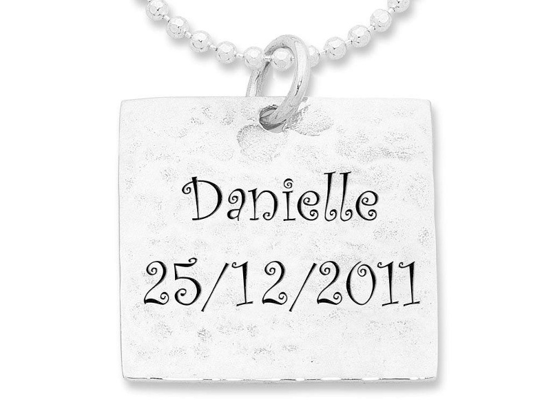 Personalised Square Hammered Necklace