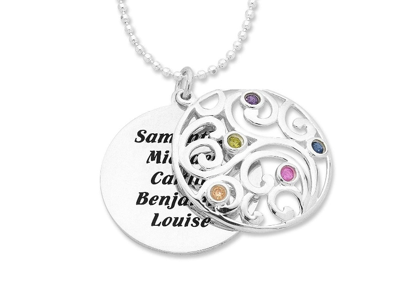 Personalised Large Sterling Silver Filigree Necklace