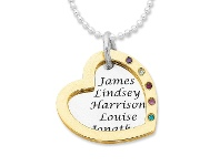 Bevilles 9ct Yellow Gold and Sterling Silver Personalised Two Tone Open Heart Necklace