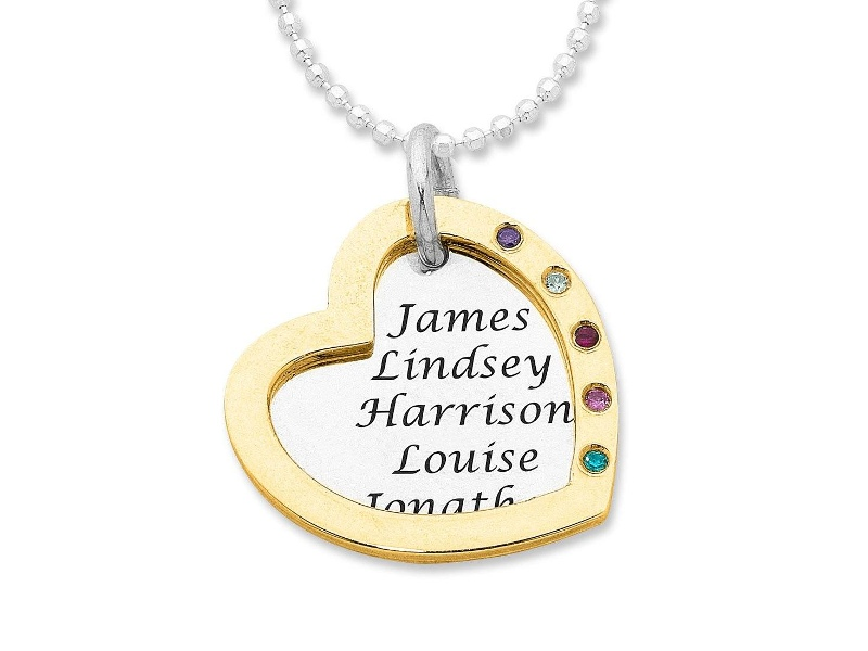 9ct Yellow Gold and Sterling Silver Personalised Two Tone Open Heart Necklace