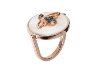 Bevilles Bronzallure Bee Ring Mother of Pearl - IT 10 / FR 50 / White Mother of Pearl