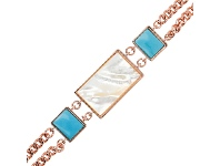 Bevilles Bronzallure Rectangular Inserts in Natural Stone and Mother of Pearl Bracelet - White Mother of Pearl