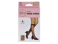 Mix Sheer Knee Hi Natural One Size 4 Pack