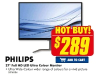 """The Good Guys Philips 27"""" Full HD LED Ultra Colour Monitor"""