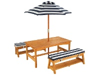 LivingStyles Outdoor Table and Bench Set with Cushion and Umbrella
