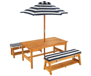 Outdoor Table and Bench Set with Cushion and Umbrella