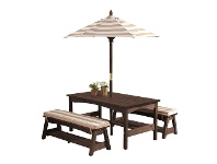 LivingStyles Kidkraft Kids Outdoor Table and Bench Set with Cushions and Umbrella - Oatmeal and White Stripes