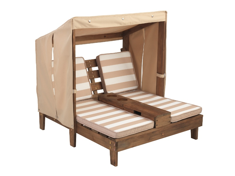 Kidkraft Kids Double Chaise Outdoor Lounge with Cupholder - Oatmeal and White Stripes