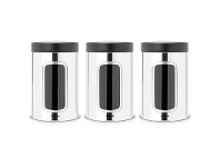 LivingStyles Set of 3 Brabantia 1.4L Window Storage Canisters with Black Lid - Brilliant Steel