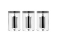 LivingStyles Set of 3 Brabantia 1.4L Window Storage Canisters with Black Lid - Matt Steel