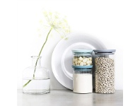 LivingStyles Brabantia 3 Piece Soft Tone Lid Stackable Glass Jar Set