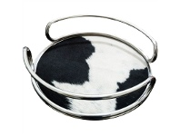 LivingStyles Cosby Cowhide Featured Metal Round Tray