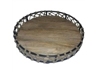 LivingStyles Fishnet Metal and Timber Round Tray