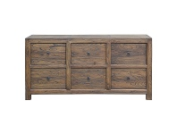 LivingStyles Bordeaux Reclaimed Elm Timber 6 Drawer Chest / Sideboard, 173cm