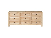 LivingStyles Rocco Reclaimed Elm Timber 9 Drawer 196cm Sideboard