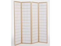 LivingStyles Shoji Japanese Style Quad Fold Room Screen Divider - Teak/White